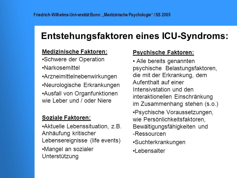 Entstehungsfaktoren eines ICU-Syndroms: