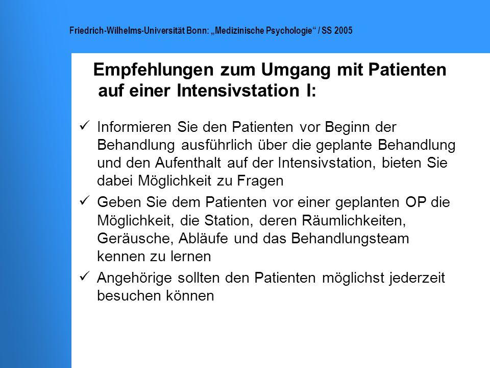 Empfehlungen zum Umgang mit Patienten auf einer Intensivstation I: