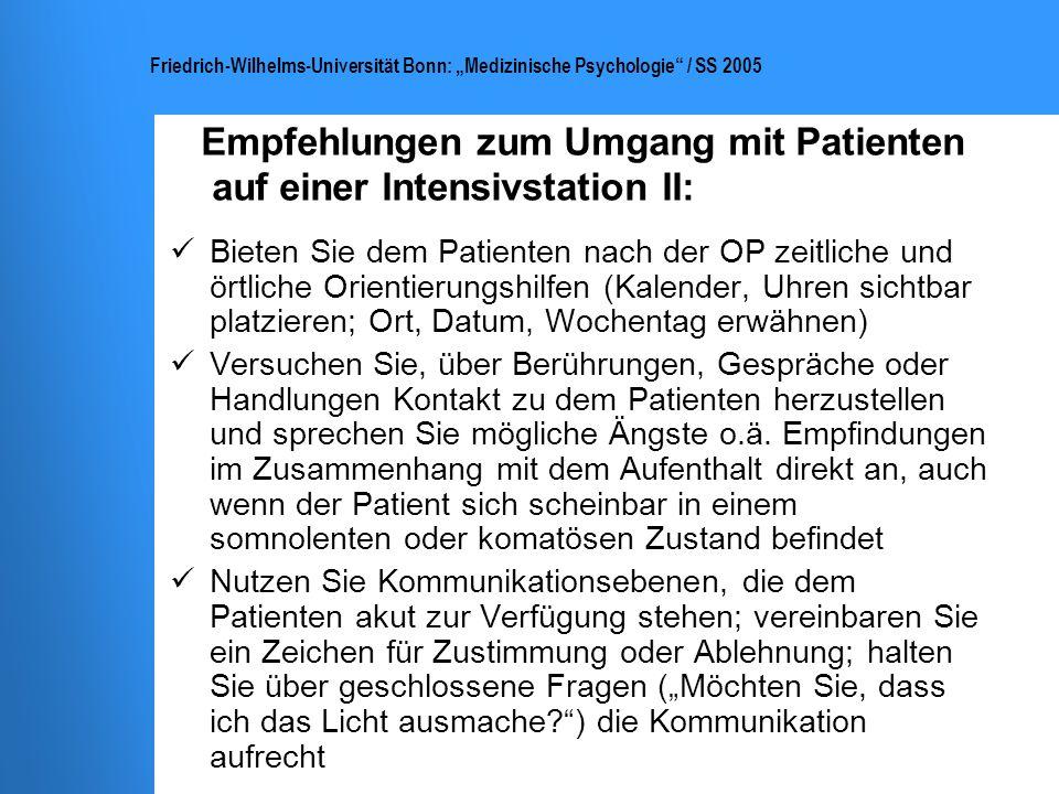 Empfehlungen zum Umgang mit Patienten auf einer Intensivstation II: