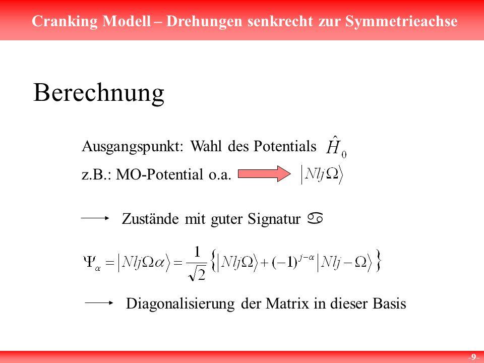 Berechnung Ausgangspunkt: Wahl des Potentials z.B.: MO-Potential o.a.