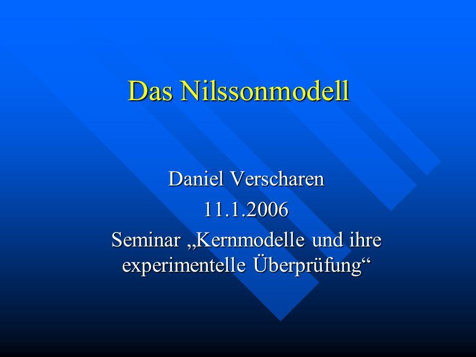 """Seminar """"Kernmodelle und ihre experimentelle Überprüfung"""