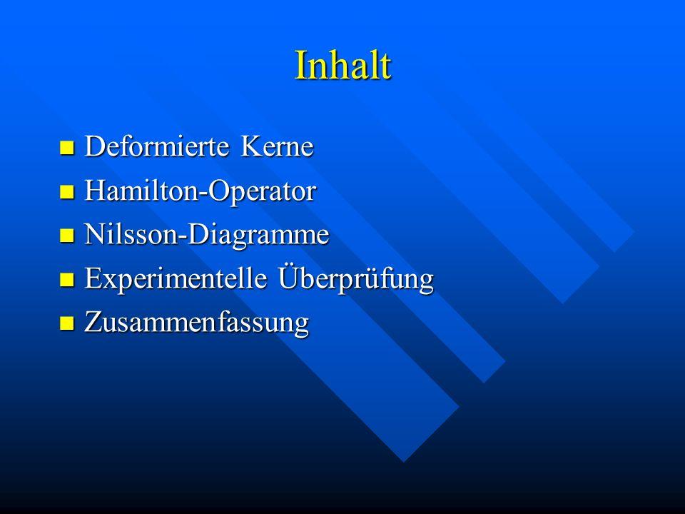 Inhalt Deformierte Kerne Hamilton-Operator Nilsson-Diagramme