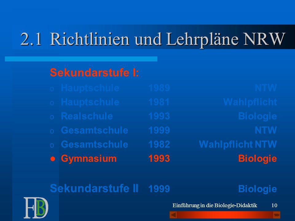 Richtlinien und Lehrpläne NRW