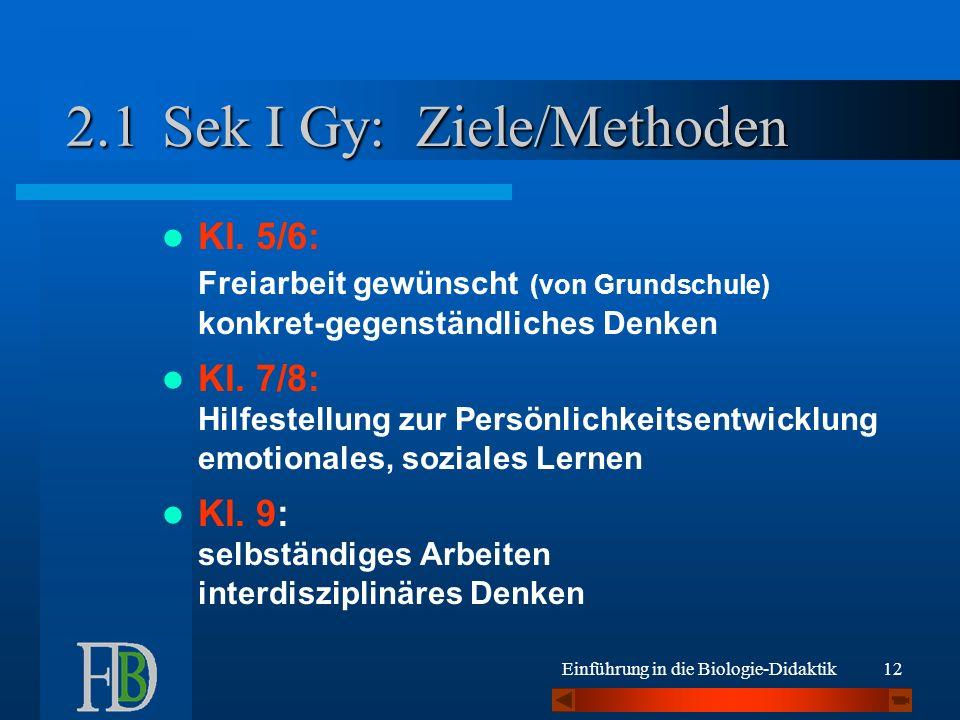 Sek I Gy: Ziele/Methoden