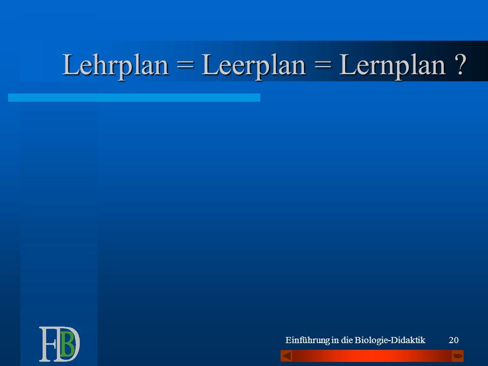 Lehrplan = Leerplan = Lernplan