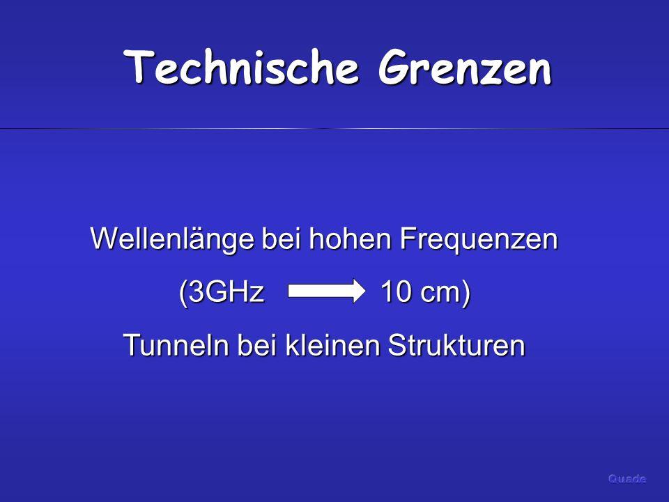Technische Grenzen Wellenlänge bei hohen Frequenzen (3GHz 10 cm)
