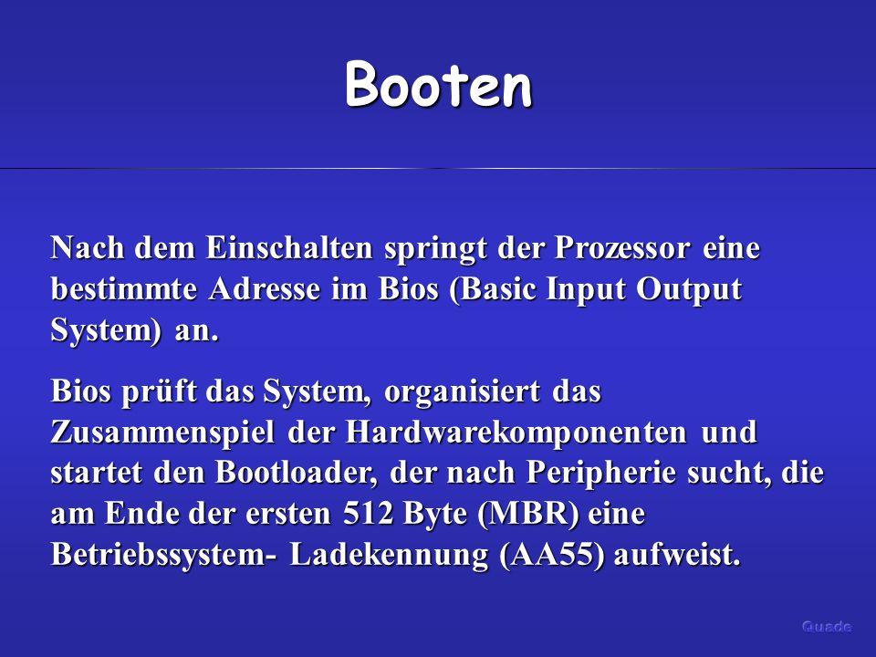 Booten Nach dem Einschalten springt der Prozessor eine bestimmte Adresse im Bios (Basic Input Output System) an.
