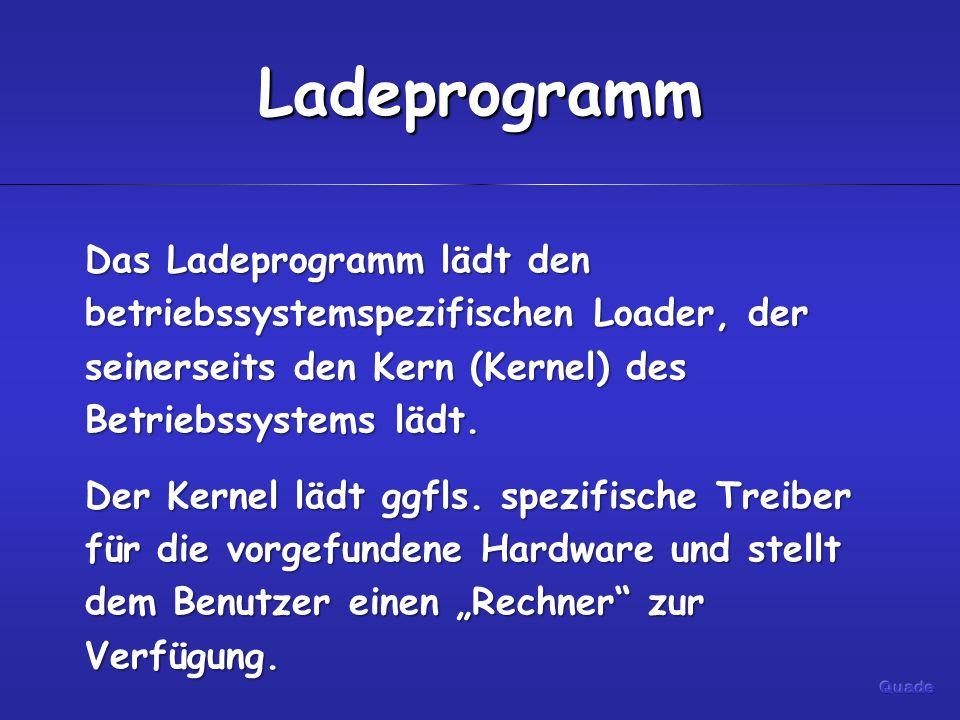 Ladeprogramm Das Ladeprogramm lädt den betriebssystemspezifischen Loader, der seinerseits den Kern (Kernel) des Betriebssystems lädt.
