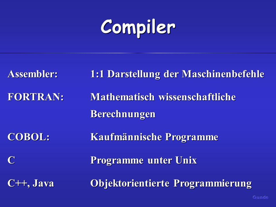 Compiler Assembler: 1:1 Darstellung der Maschinenbefehle
