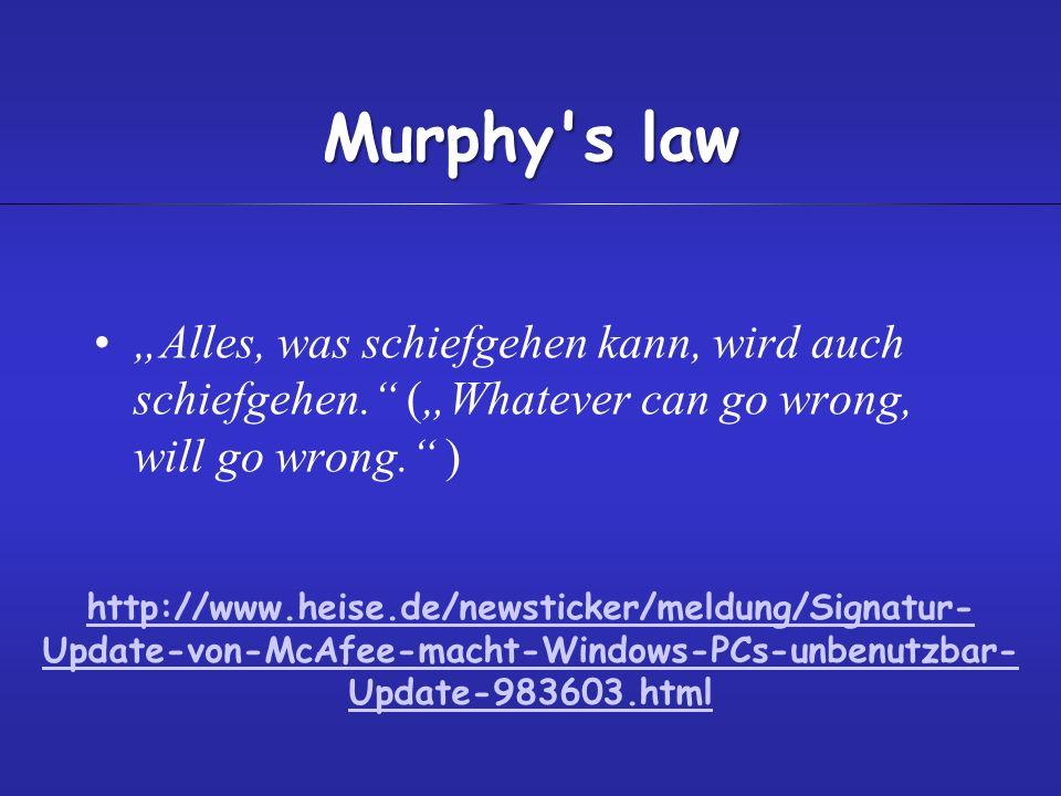 "Murphy s law ""Alles, was schiefgehen kann, wird auch schiefgehen. (""Whatever can go wrong, will go wrong. )"