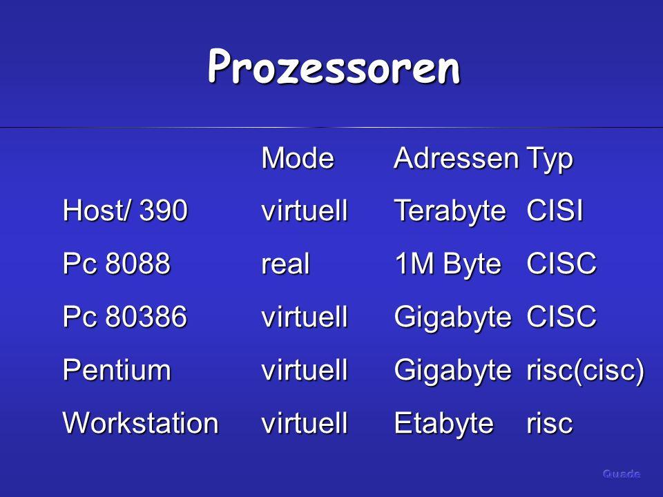 Prozessoren Mode Adressen Typ Host/ 390 virtuell Terabyte CISI