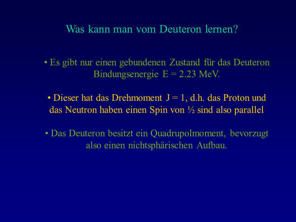 Was kann man vom Deuteron lernen