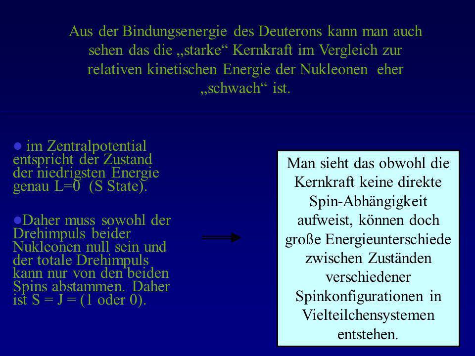 """Aus der Bindungsenergie des Deuterons kann man auch sehen das die """"starke Kernkraft im Vergleich zur relativen kinetischen Energie der Nukleonen eher """"schwach ist."""