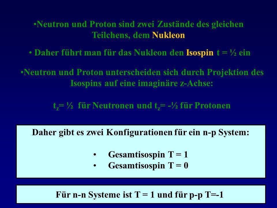 Daher führt man für das Nukleon den Isospin t = ½ ein