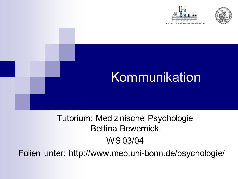 Tutorium: Medizinische Psychologie Bettina Bewernick