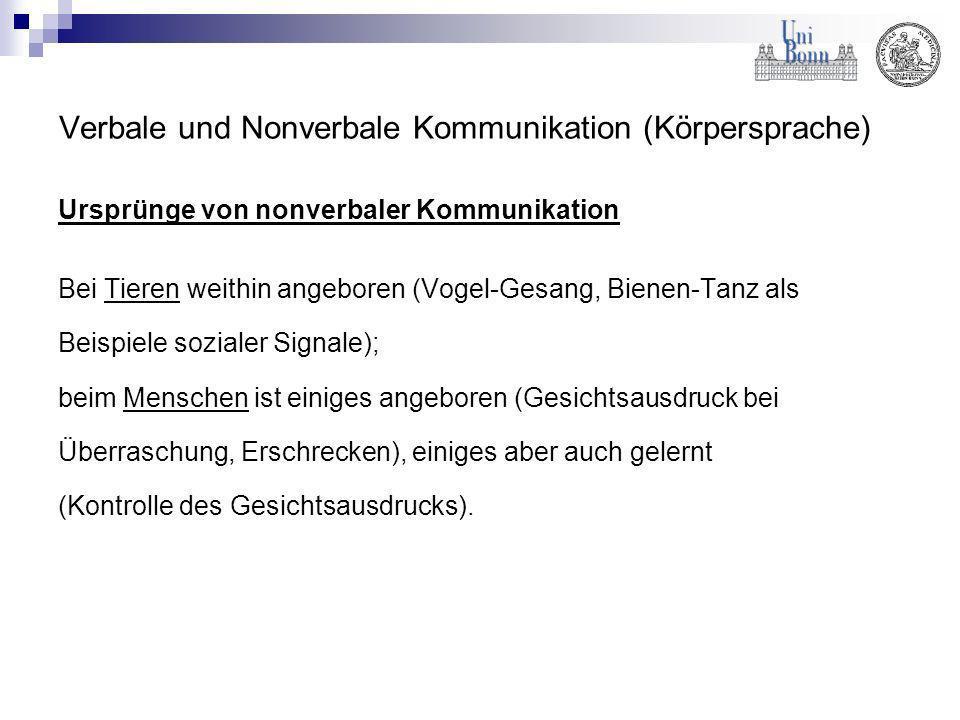 Verbale und Nonverbale Kommunikation (Körpersprache)