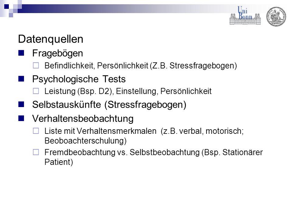 Datenquellen Fragebögen Psychologische Tests