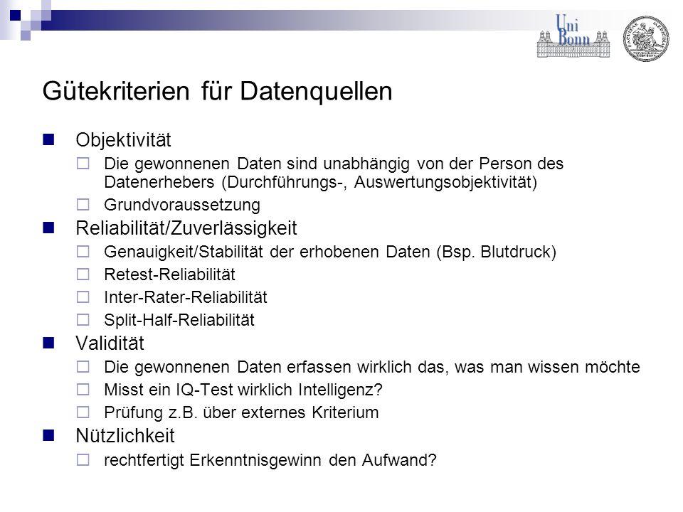 Gütekriterien für Datenquellen