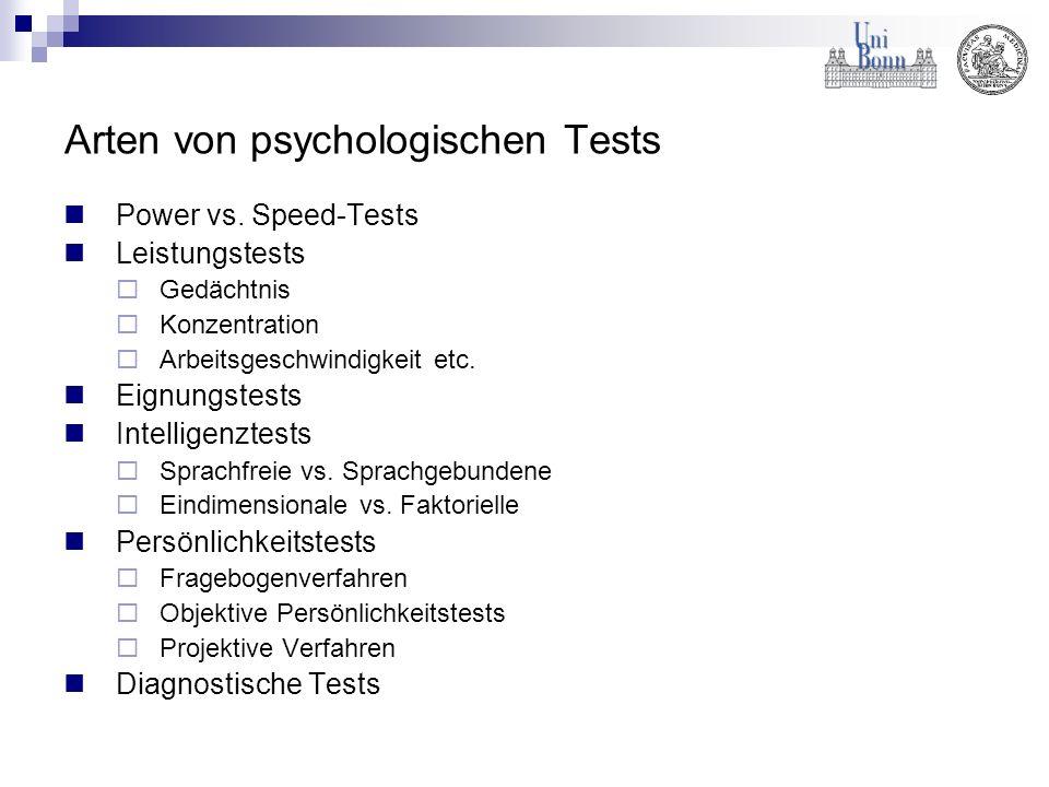 Arten von psychologischen Tests