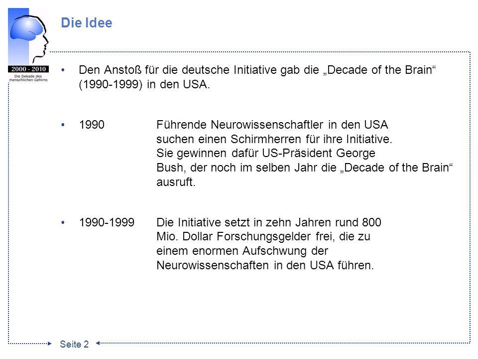 """Die Idee Den Anstoß für die deutsche Initiative gab die """"Decade of the Brain (1990-1999) in den USA."""