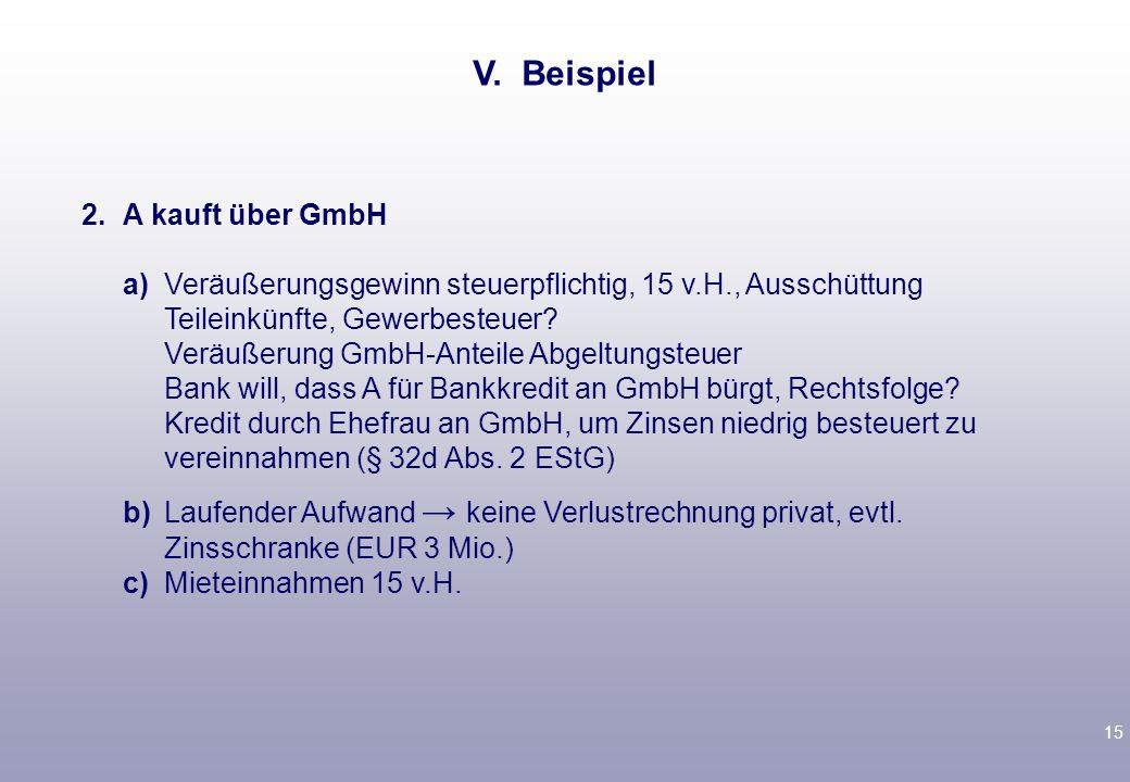 V. Beispiel 2. A kauft über GmbH.