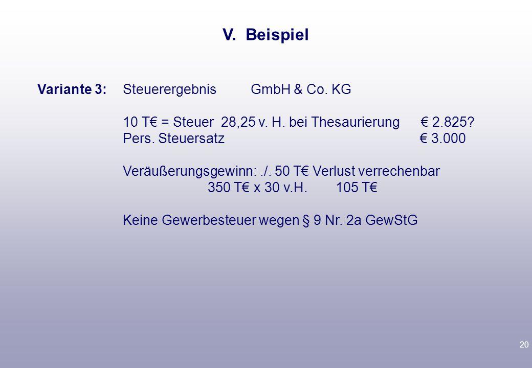 V. Beispiel 10 T€ = Steuer 28,25 v. H. bei Thesaurierung € 2.825