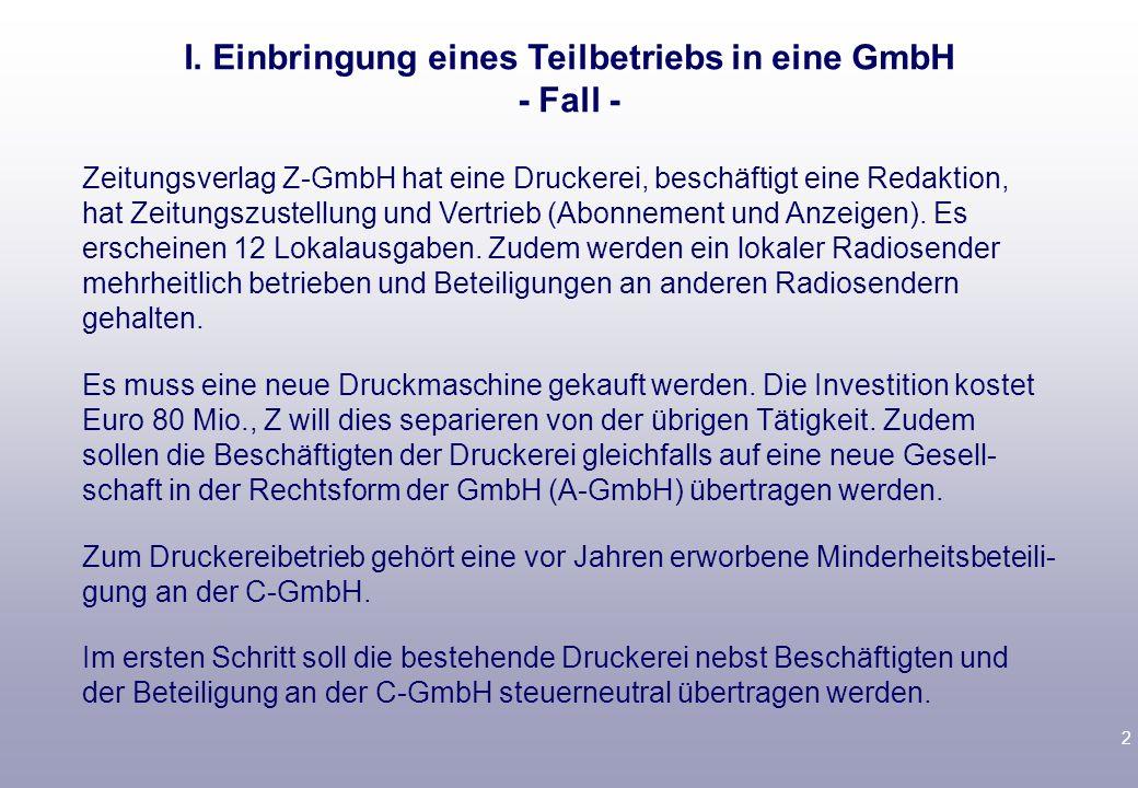 I. Einbringung eines Teilbetriebs in eine GmbH - Fall -