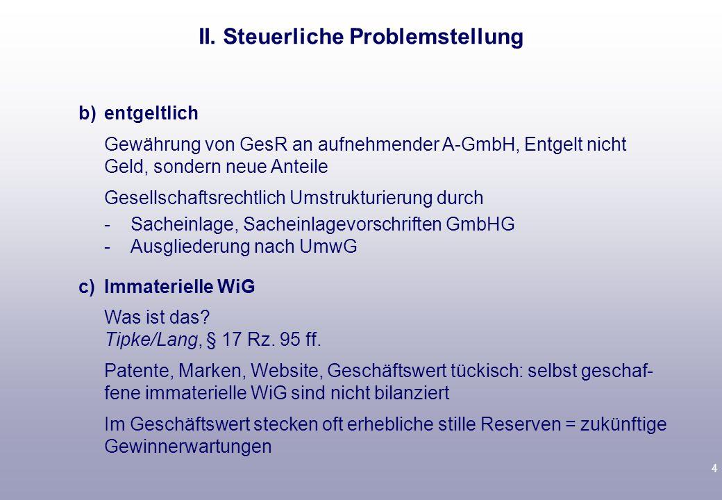 II. Steuerliche Problemstellung