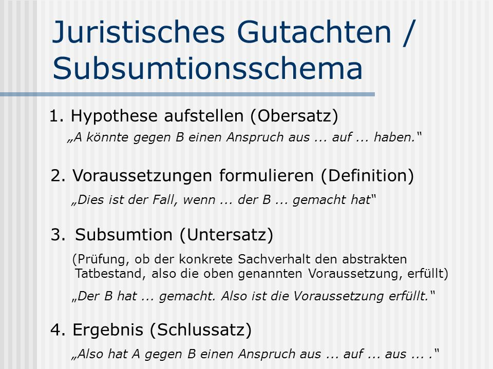Juristisches Gutachten / Subsumtionsschema