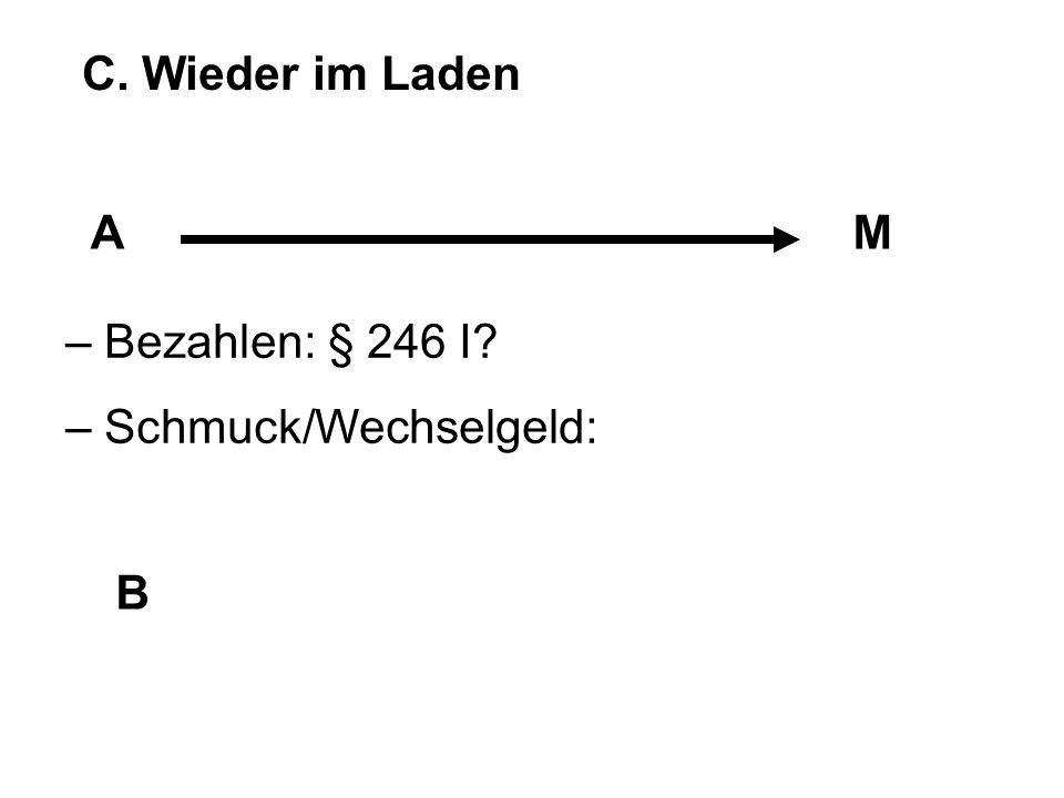 C. Wieder im Laden A M – Bezahlen: § 246 I – Schmuck/Wechselgeld: B