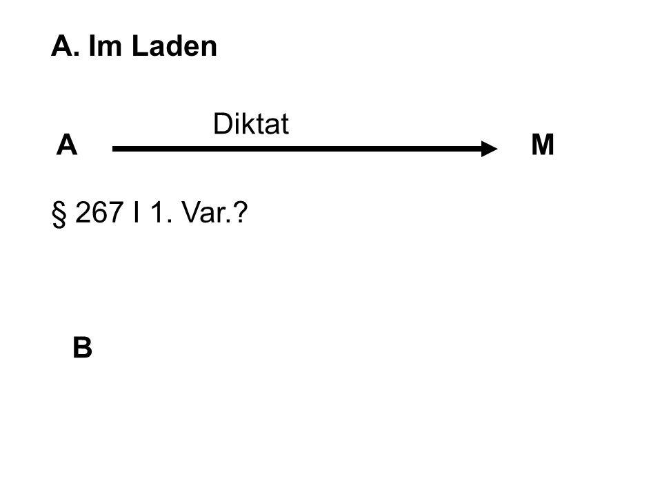 A. Im Laden Diktat A M § 267 I 1. Var. B