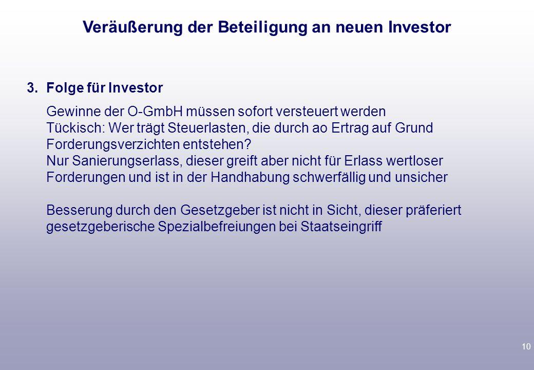 Veräußerung der Beteiligung an neuen Investor