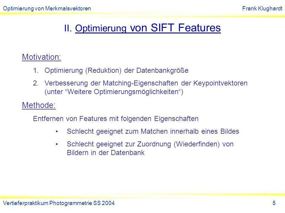 Optimierung von SIFT Features