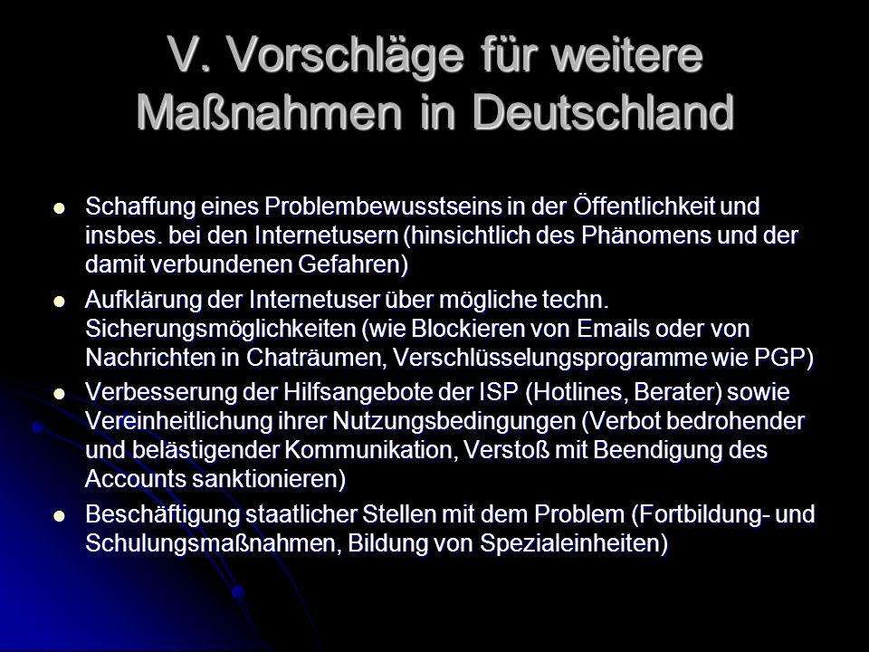V. Vorschläge für weitere Maßnahmen in Deutschland