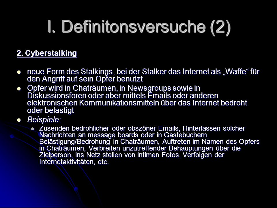 I. Definitonsversuche (2)