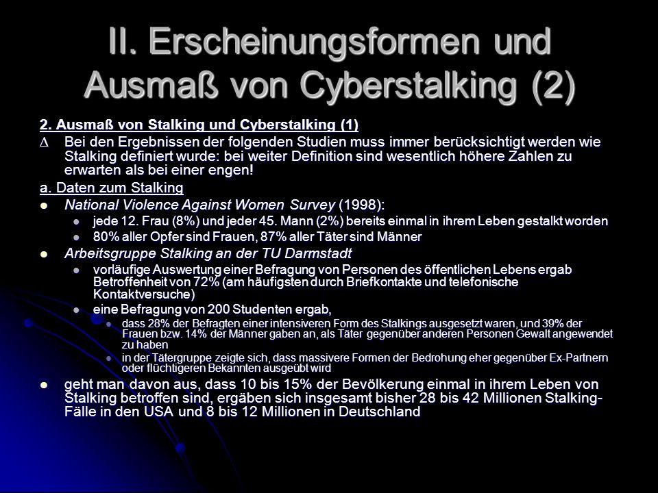 II. Erscheinungsformen und Ausmaß von Cyberstalking (2)
