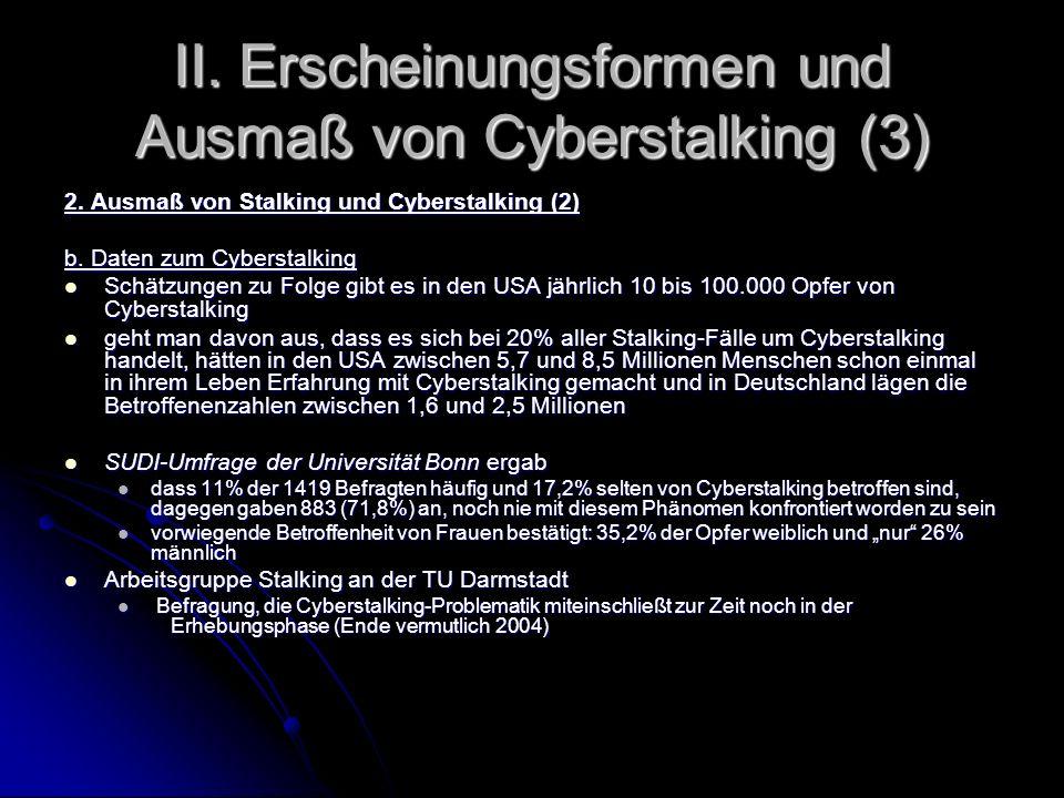 II. Erscheinungsformen und Ausmaß von Cyberstalking (3)