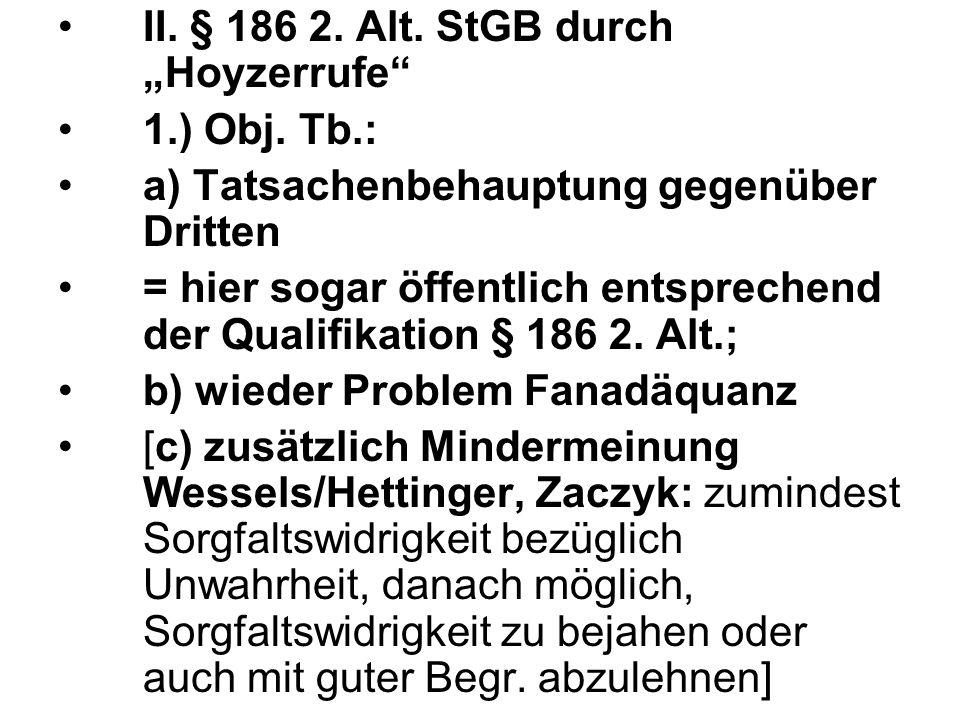 """II. § 186 2. Alt. StGB durch """"Hoyzerrufe"""