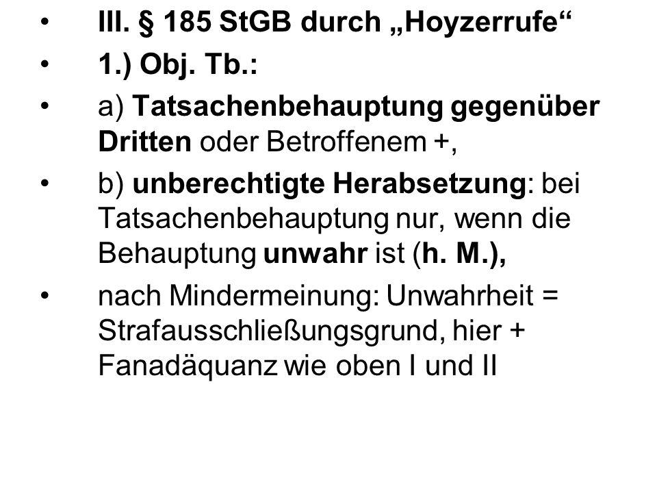 """III. § 185 StGB durch """"Hoyzerrufe"""