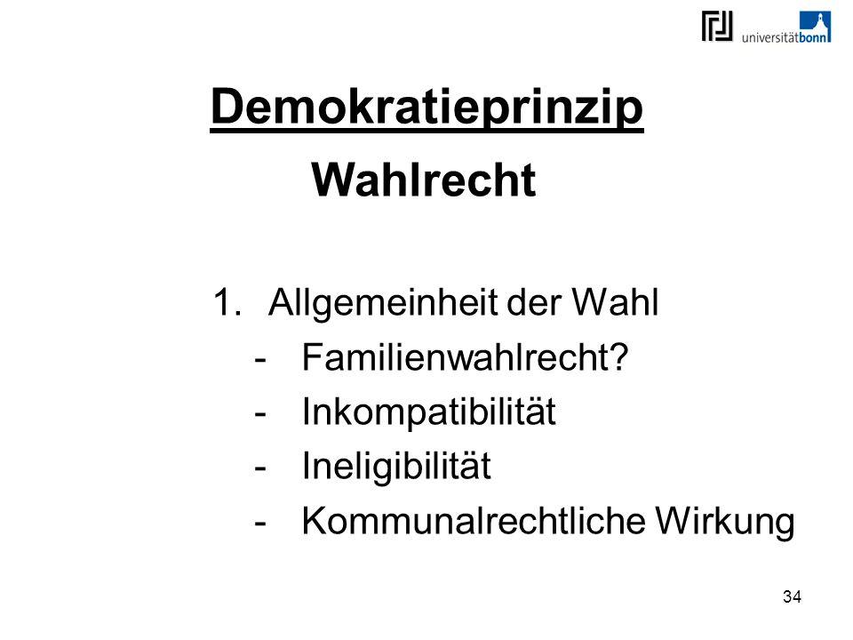Demokratieprinzip Wahlrecht Allgemeinheit der Wahl Familienwahlrecht