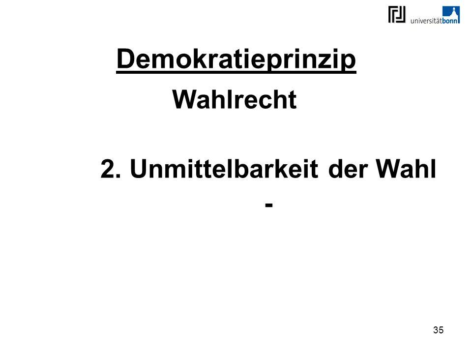 Wahlrecht 2. Unmittelbarkeit der Wahl -