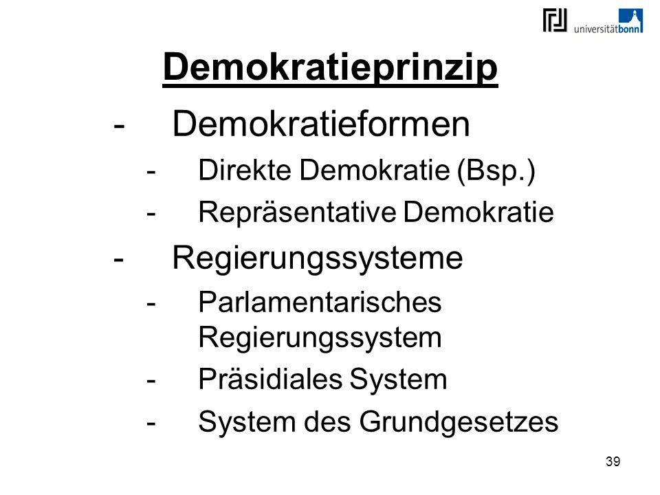Demokratieprinzip Demokratieformen Regierungssysteme