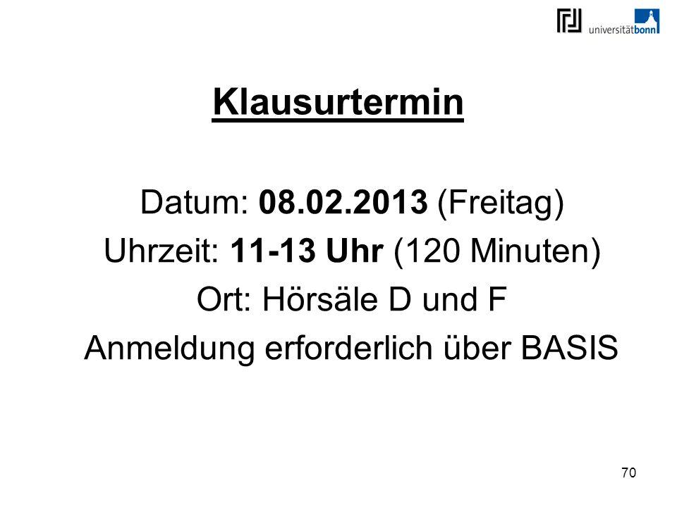 Klausurtermin Datum: 08.02.2013 (Freitag)
