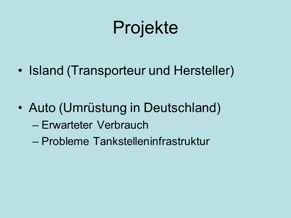 Projekte Island (Transporteur und Hersteller)