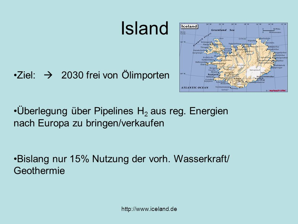 Island Ziel:  2030 frei von Ölimporten