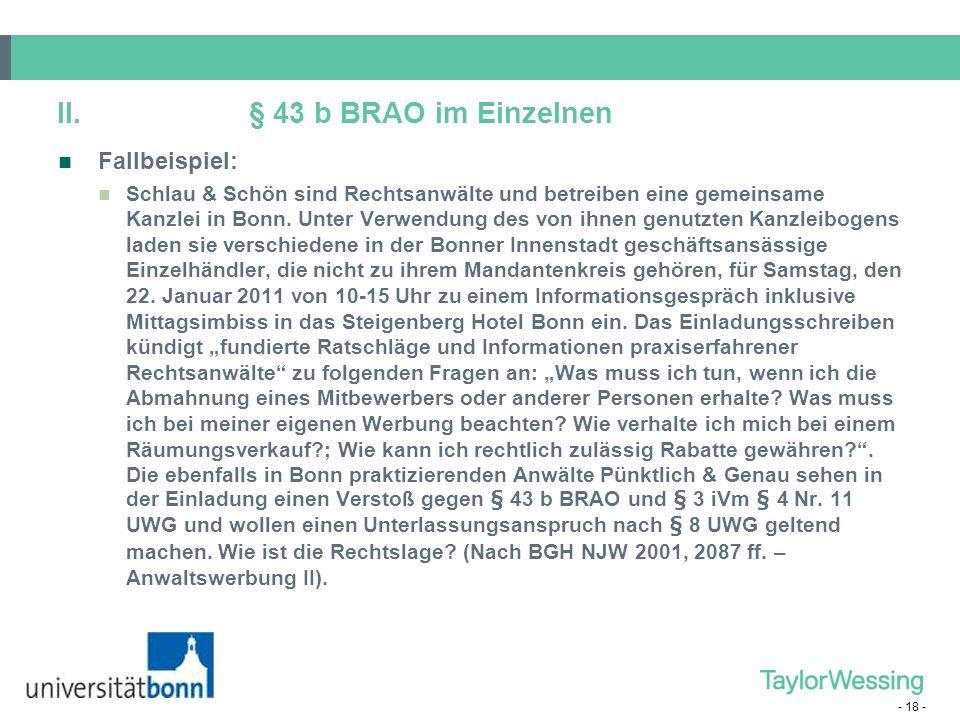 II. § 43 b BRAO im Einzelnen Fallbeispiel: