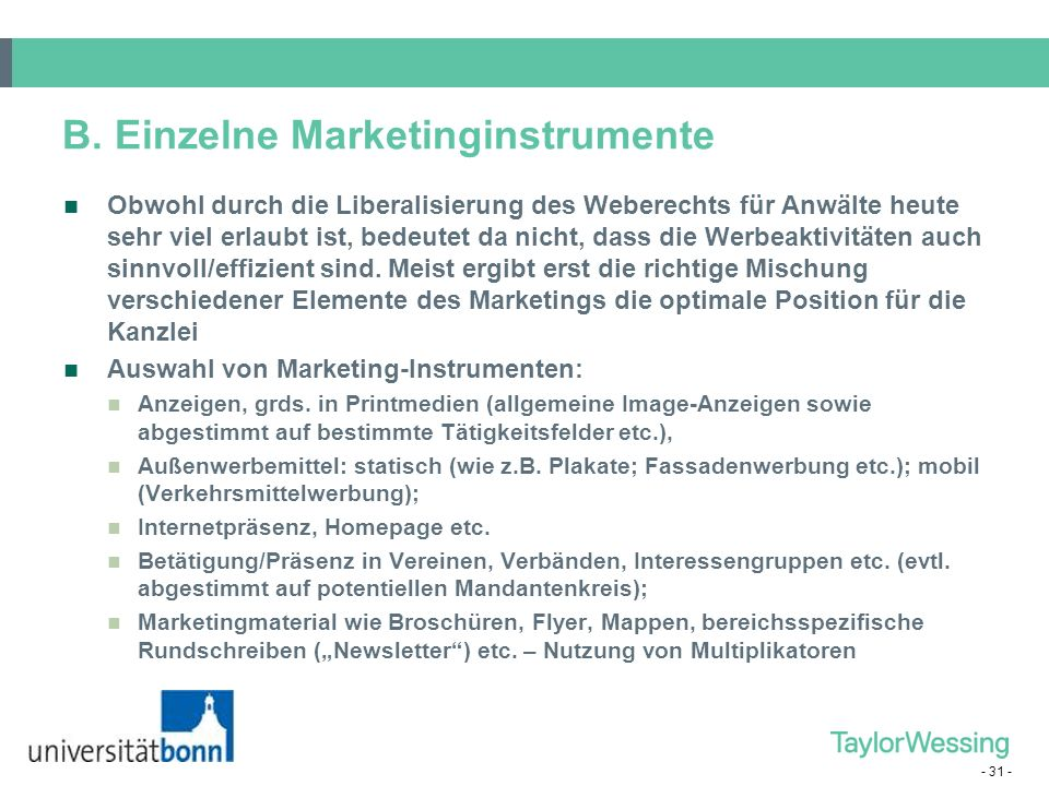 B. Einzelne Marketinginstrumente