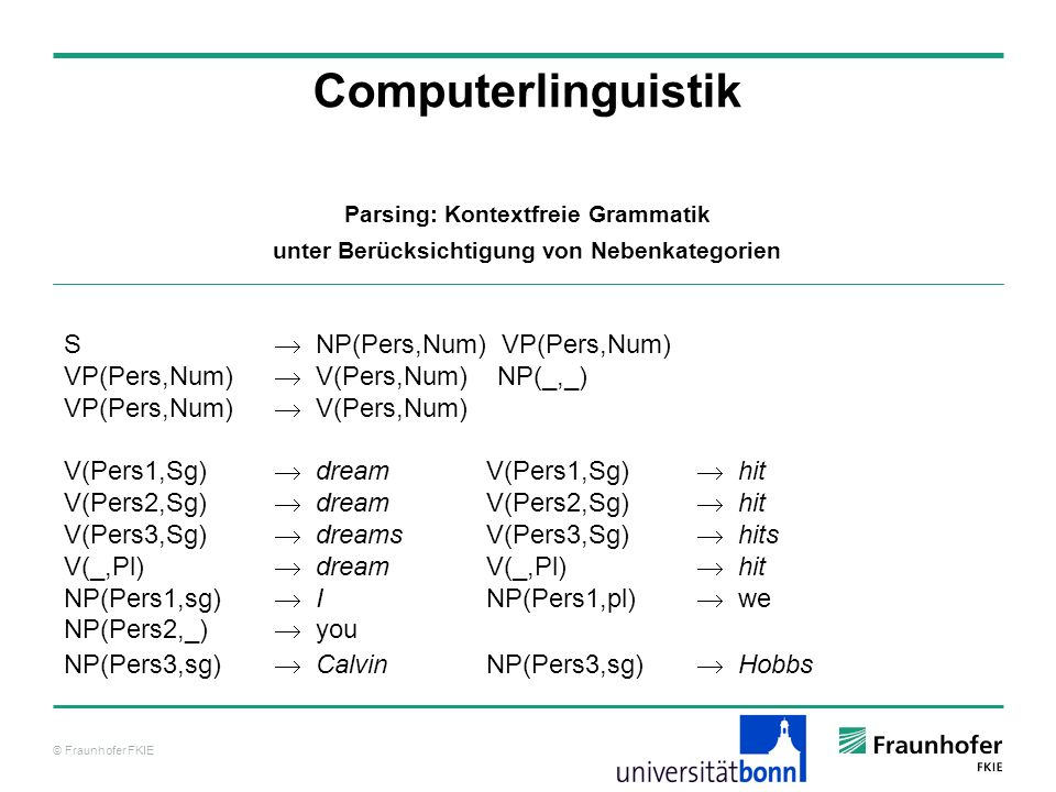 Computerlinguistik S  NP(Pers,Num) VP(Pers,Num)