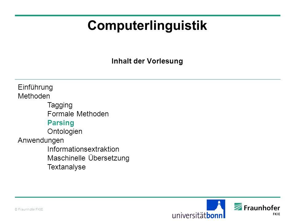 Computerlinguistik Inhalt der Vorlesung Einführung Methoden Tagging