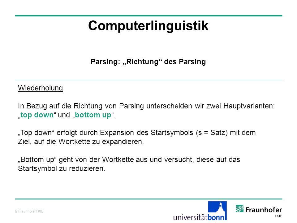 """Parsing: """"Richtung des Parsing"""